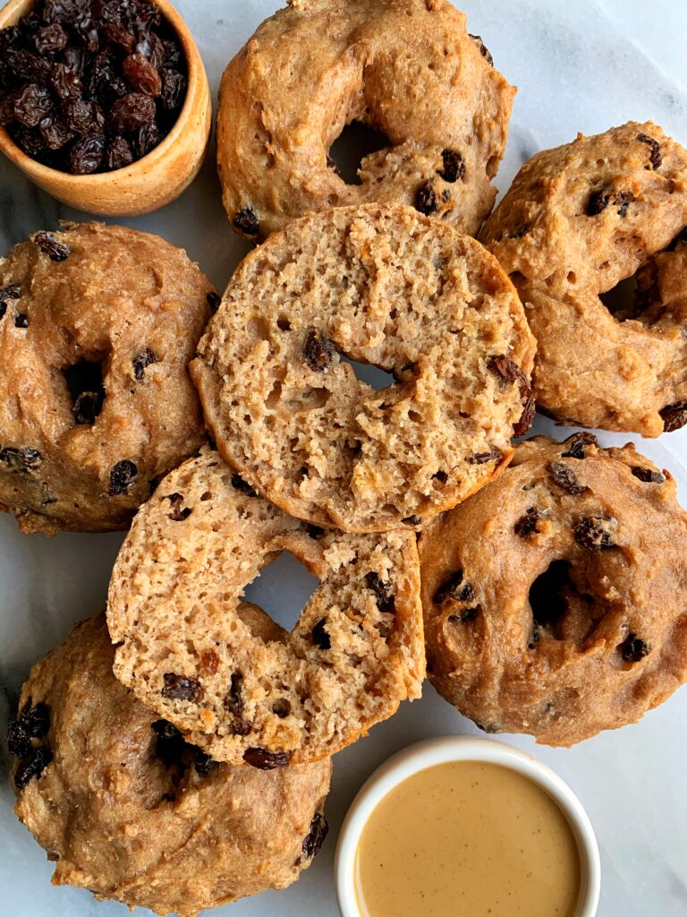 Homemade Vegan Cinnamon Raisin Bagels that are gluten-free, nut-free and so easy to make! Oven-baked, no crazy steps and no yeast needed.