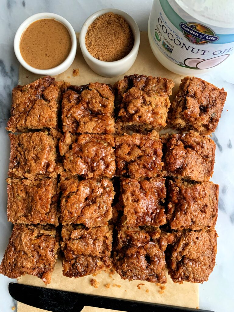 Insanely Good Vegan Cinnamon Sugar Zucchini Cake made with all gluten-free and nut-free ingredients. The dreamiest zucchini cake recipe ever filled with a cinnamon sugar swirl and drizzled on top.