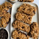 Vegan Chocolate Chip Peanut Butter Granola Bars made just 4 ingredients! These are such an easy gluten-free and homemade chewy granola bar recipe anyone and everyone loves!