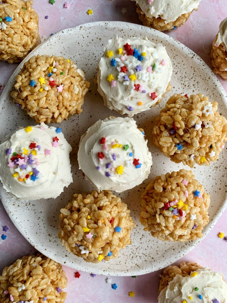 Epic Browned Butter Funfetti Rice Crispy Treats made with just 3 ingredients then your favorite sprinkles and frosting on top!