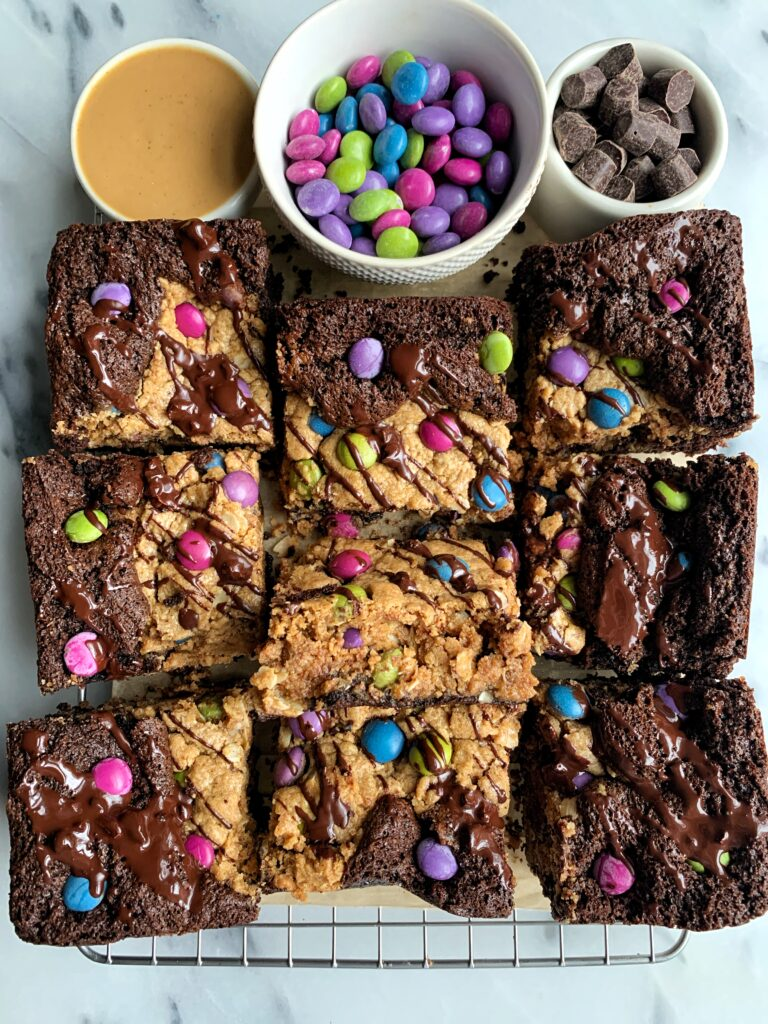 These Best Ever Gluten-free Monster Cookie Brownies are truly life changing. The ultimate healthier brookie recipe with a twist.