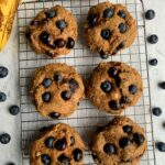 Vegan Blueberry Banana Bread Muffin Tops made with all gluten-free and dairy-free ingredients. Plus you only need 5 ingredients to whip these up for an easy breakfast or snack idea!