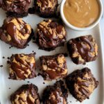 """Crazy Good Vegan Peanut Butter Brownies made with all gluten-free ingredients. No flour needed and you'd never know these insanely fudgy brownies are """"healthier""""."""