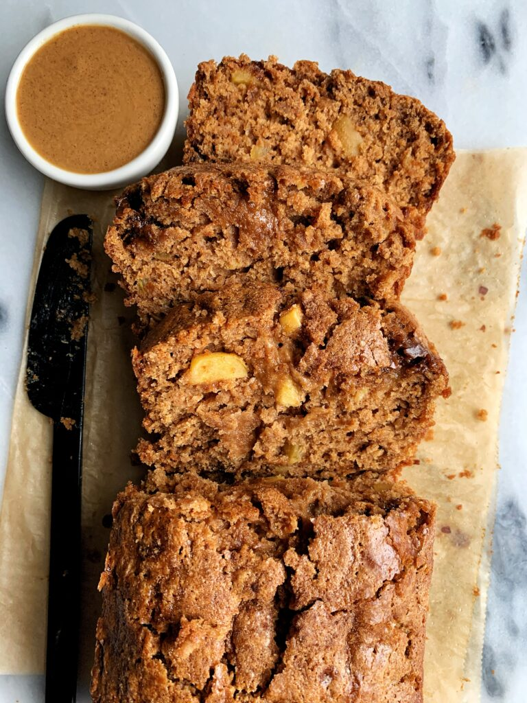The Best Healthy Apple Bread Ever! Made with all vegan and gluten-free ingredients, this is the ultimate apple cake sweetened with cinnamon coconut sugar.