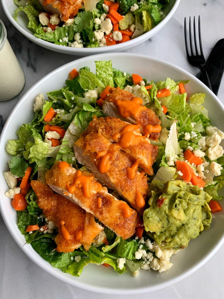 Delicious Crispy Paleo Buffalo Chicken Salad made with simple ingredients for an easy, healthy and Whole 30-friendly salad idea!