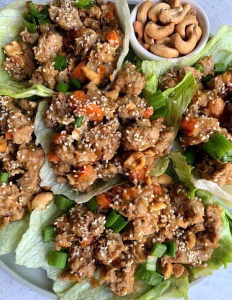 20-minute Healthy Cashew Chicken Lettuce Wraps