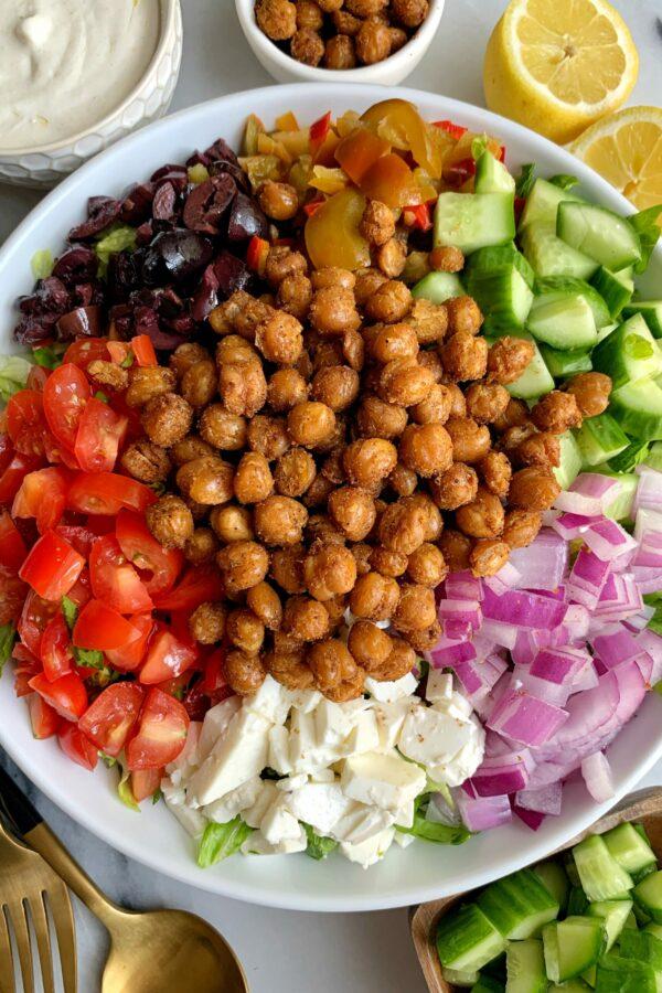 Vegetarian Greek Salad with Tahini Yogurt Dressing