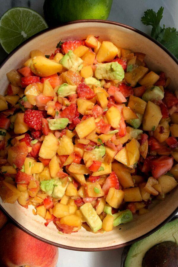 Dreamy Peach Strawberry Avocado Salsa