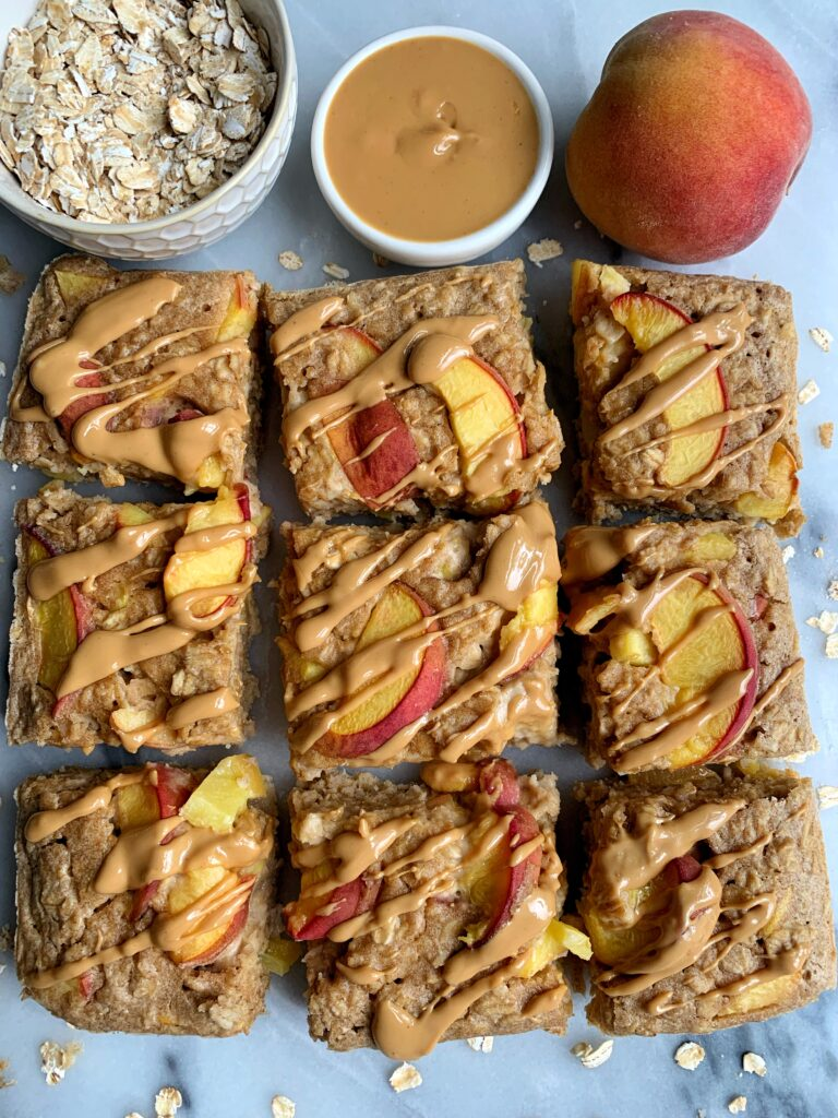 The Easiest Peach Baked Oatmeal made with all gluten-free, dairy-free and nut-free ingredients. A healthy and delicious breakfast recipe to make and prep for the week.