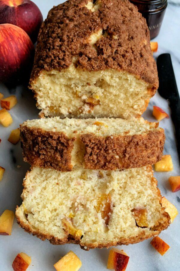 Delicious Peach Crumb Pancake Bread