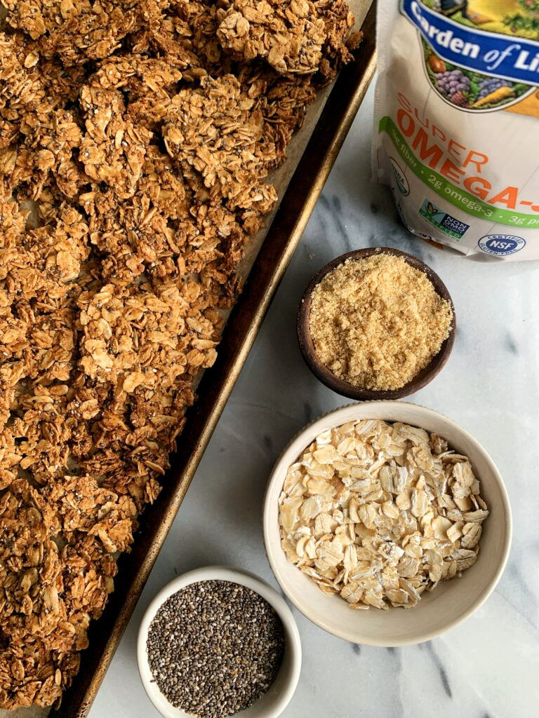 The Best Nut-free Granola recipe with tons of clusters! This is seriously one of my favorite recipes to make and it is vegan, gluten-free and so easy to whip up.