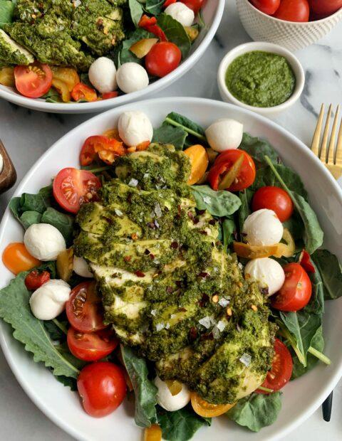Delicious Pesto Chicken Caprese Salad