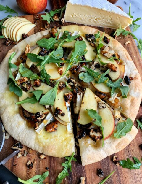 Loaded Hot Honey, Apple and Brie Pizza!
