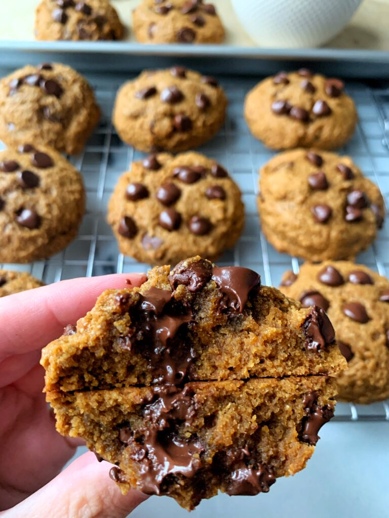 Gluten-free Pumpkin Chocolate Chip Cookies made with all dairy-free ingredients. These cookies are a crowd pleaser and only take 15 minutes to make!