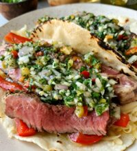 Epic Grill Pan Steak Tacos with Chimichurri Sauce
